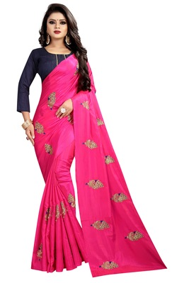 Pink embroidered faux silk saree with blouse