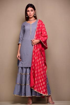 Grey plain cotton kurta sets