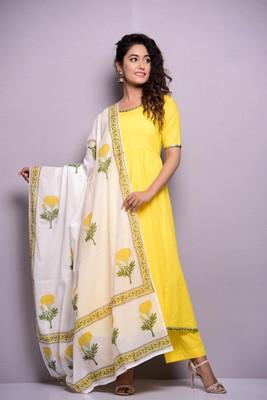 Yellow plain cotton kurta sets