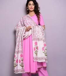 Pink plain cotton kurta sets