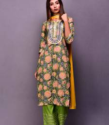 Green printed cotton kurta sets