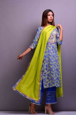 Blue printed cotton kurta sets