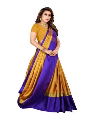 Mustard plain art silk saree with blouse