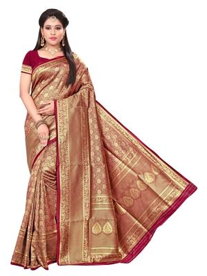 780b8a3922 Maroon woven banarasi art silk saree with blouse - SAINOOR - 2866849