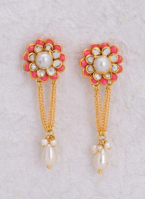 Beautiful Floral Earrings with Pearls