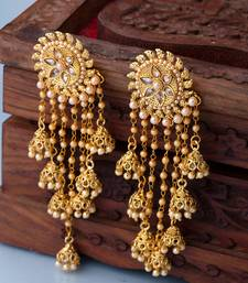 Floral Latkan Earrings with Gold Plating