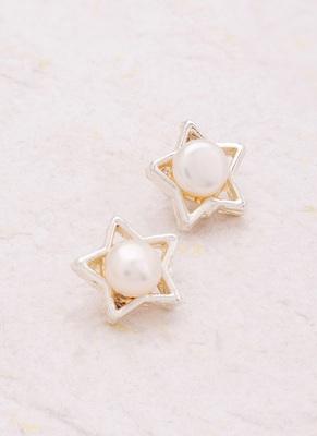 Pearl Adorned Dainty Star Earrings