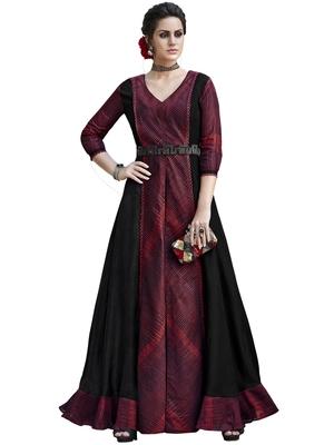 Maroon printed tussar silk salwar