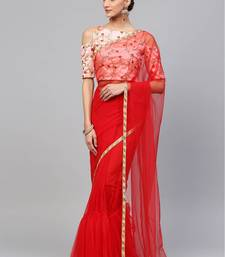Inddus Red Net Lace Bordered Saree