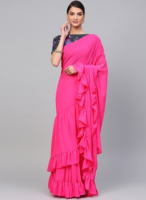 Inddus Pink Georgette Solid Ruffle Saree