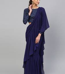Inddus Navy Blue Georgette Solid Ruffle Saree