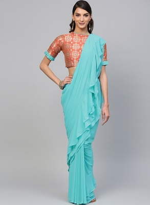 Inddus Sky Blue Georgette Solid Ruffle Saree