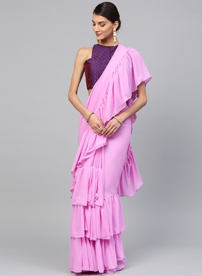 Inddus Lilac Georgette Solid Ruffle Saree