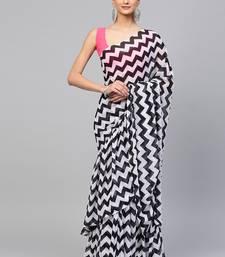 Inddus Black & White Georgette Printed Ruffle Saree