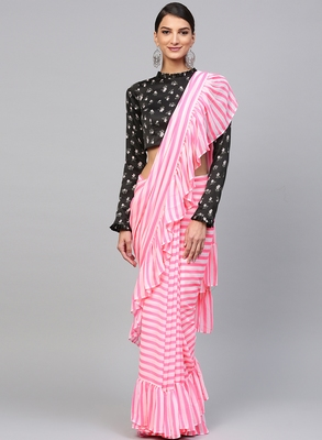 Inddus Pink Georgette Striped Ruffle Saree