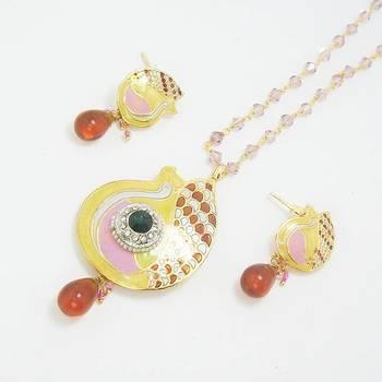 Meenakari Peacock Pendant Set Pearl Pink Yellow Orange