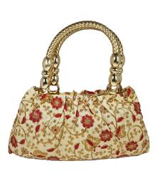 Prosper Ethnic Silk Purse Hand Bag with Embroidery Work Multicolour for Women and Girls