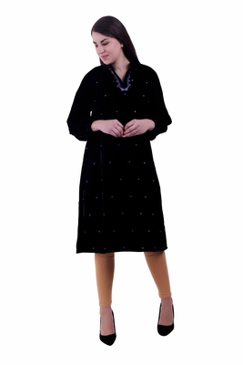 Black embroidered velvet kurti