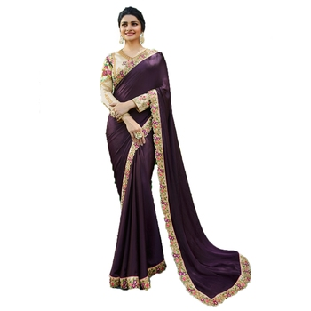 Purple plain silk saree with blouse