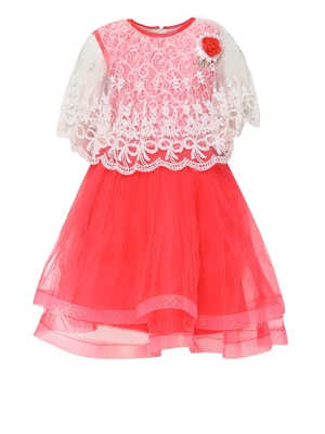 Red Embroidered Nylon Kids Frocks