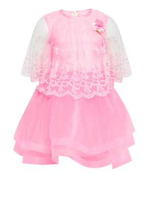 Pink embroidered nylon kids-frocks