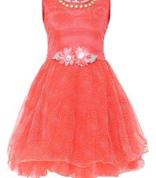 Red embroidered nylon kids-frocks