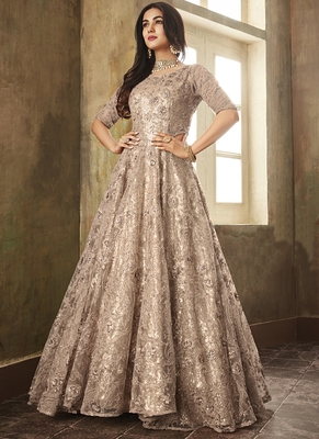 Beige Embroidered Net Salwar