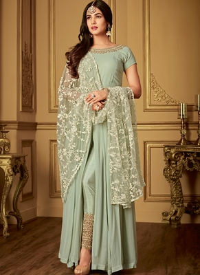 Pastel embroidered georgette salwar