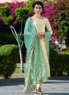 Off-white embroidered brocade salwar