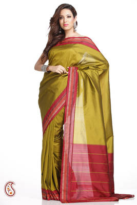 Sublime Olive Green Art Silk Saree with Red Border