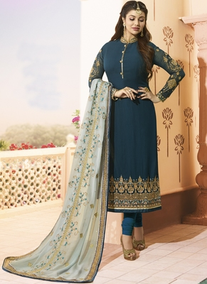 Dark-Teal Embroidered Georgette Salwar