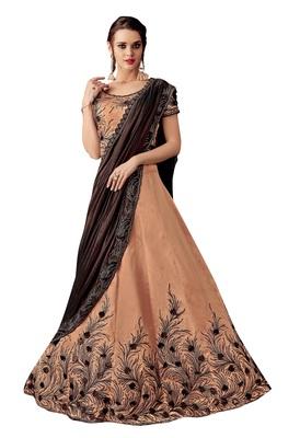 peach embroidered taffeta saree with blouse