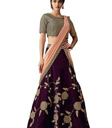 Wine Embroidered Velvet Saree With Blouse