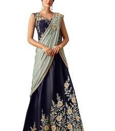 blue embroidered taffeta saree with blouse