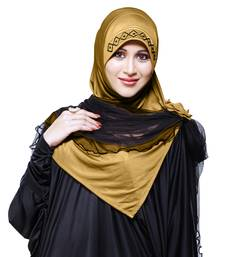 gold plain cotton poly hijab