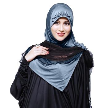 Grey Plain Cotton Poly Hijab
