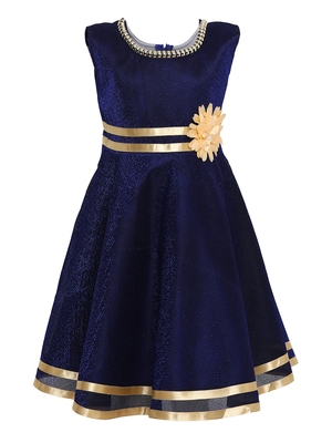 Blue Embroidered Nylon Kids-Frocks