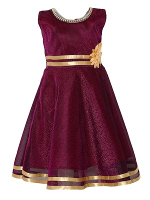 Maroon Embroidered Nylon Kids Frocks