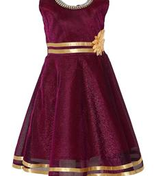 Maroon embroidered nylon kids-frocks