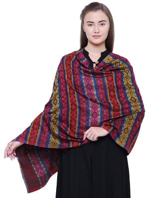 Anekaant Wine & Multicolour Modal Striped Woven Design Shawl