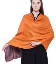 Anekaant Orange & Multicolour Modal Paisley Woven Design Frayed Shawl