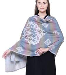 Anekaant White Pastels Viscose Rayon Geometrical Woven Design Shawl