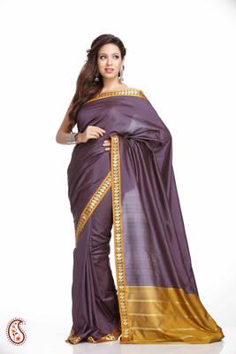 Doriya Purple Art Silk Saree with Golden Double Border