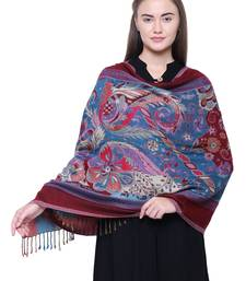 Anekaant Dark Wine & Multicolour Floral and Paisley Viscose Rayon Woven Design Shawl