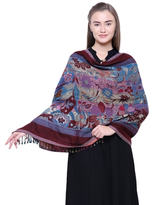 Anekaant Blue, Wine & Multicolour Viscose Rayon Floral and Paisley Woven Design Shawl
