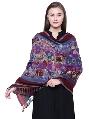 Anekaant Navy, Wine & Multicolour Viscose Rayon Floral and Paisley Woven Design Shawl