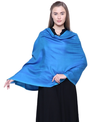 Anekaant Turquoise Modal Solid Woven Design Reversible Shawl
