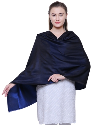 Anekaant Navy Blue Modal Solid Woven Design Reversible Shawl