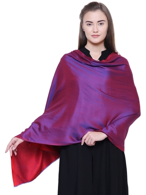 Anekaant Red Modal Solid Woven Design Reversible Shawl
