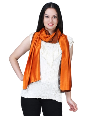 Anekaant Orange Modal Solid Woven Design Reversible Shawl